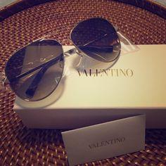 Valentino aviator sunglasses. BN, 100% authentic Gold. Style #V117S. Comes with Valentino box, case, and cloth. Small square stud on both sides Valentino Accessories Sunglasses