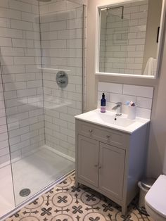 Our new en-suite shower room with Spanish subway glazed tiles, grouted with light grey and floor tiles by Mandarin. Loft Ensuite, Loft Bathroom, Ensuite Bathrooms, Bathroom Interior, Walk In Bathroom Showers, Small Shower Room, Shower Rooms, Best Bathroom Designs, Bathroom Design Small