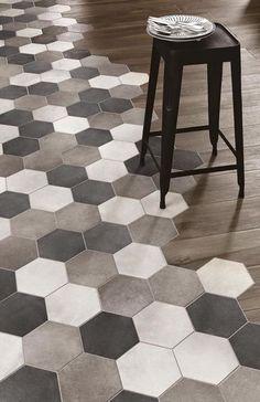 kitchen flooring Kche Bodenbelag Ideen f - Küchen Design, Floor Design, Tile Design, House Design, Interior Design, Design Ideas, Hexagon Tiles, Mosaic Tiles, Hex Tile
