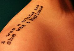 Quote typewriting tattoo design on upper shoulder