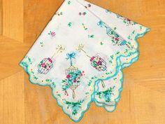 Vintage Inspired Teal Blue Birdcages Print Hankie