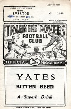 Tranmere Rovers v Everton 1960-61 league cup match programme