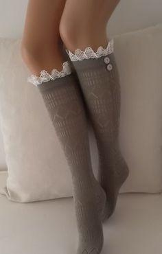 Lace boot socks leg warmers