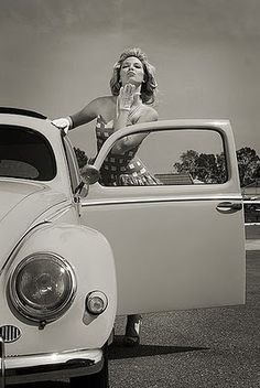 Classic Aircooled VW Bug with a Pin-Up girl