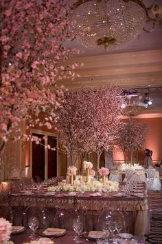 I love the indoor cherry blossom trees at this wedding themes indoor Blossoming Trees {For Weddings! Reception Decorations, Wedding Centerpieces, Wedding Table, Wedding Reception, Wedding Day, Tree Decorations, Garden Wedding, Exotic Wedding, Tree Centerpieces