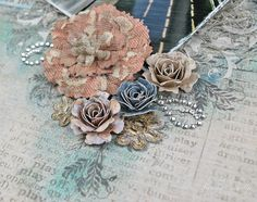 """Crazy for You"" Layout by Tracey Sabella for Donna Salazar: Mixed Media, Handcrafted Flowers, Stamping, Pan Pastels, Clearsnap, Spellbinders, Art Gone Wild, Want2Scrap, Helmar, Tutorial for Open Lace Roses: http://gracescraps.blogspot.com/2014/02/bride-mixed-media-layout-for-donna.html"
