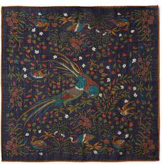 Drake's - Printed Wool and Silk-Blend Handkerchief|MR PORTER