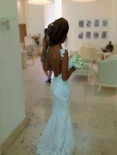 Amazing open back lace wedding dress