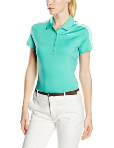 Nike Womens Dri-Fit Swoosh Mesh Golf Polo Teal 640344-405 (X-Large). Dri-FIT fabric helps keep you dry and comfortable. Fold-over collar and five-button placket for classic polo look. Stretch fabric and ergonomic back seams for natural range of motion. Cap sleeves and vented hem for enhanced fit. Dri-FIT 87% polyester/13% elastane.