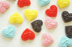 """10 pcs Colorful """"Love"""" Chocolate Chip Cabochon (15mm16mm) CD308 on Etsy, £2.55"""