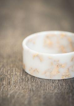 White Resin Bangle Gold Flakes Bracelet Milky Cream by daimblond