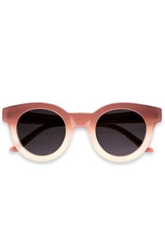 Sun Buddies Acetate Edie Sunglasses - Sottsass - Model  Edie - Type 02 -  Faded milky slightly thicker round frame in shades of red and white -  Handmade of ... f89f156ea727