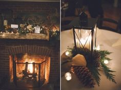 Lanterns positioned in corners of the room, flanking a fire place, on the guest book table, etc. All bringing warmth through candlelight.