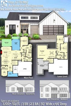 New American Style House Plan 67783MG gives you 3,100+ square feet of living space with 3 bedrooms and 2.5 baths. ADHousePlans #67783MG #adhouseplans #architecturaldesigns #houseplans #homeplans #floorplans #homeplan #floorplan #floorplans #houseplan House Plans 3 Bedroom, New House Plans, Modern House Plans, House Floor Plans, American Style House, American Houses, Board And Batten Exterior, Beautiful Home Designs, Story House