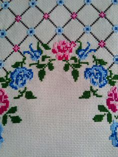 This Pin was discovered by Нео Cross Stitch Rose, Cross Stitch Flowers, Cross Stitch Designs, Cross Stitch Patterns, Teapot Cover, Bordados E Cia, Palestinian Embroidery, Swedish Weaving, Prayer Rug