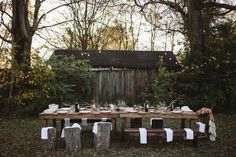 The New Victorian Ruralist-trestle tables benches and stumps...