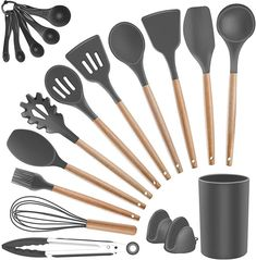 (This is an affiliate pin) Kitchen Utensil Silicone Cooking Utensils