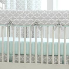 French Gray and Mint Quatrefoil Crib Rail Cover | Carousel Designs