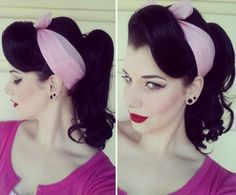 Pin Curls The Best 30 Pin Up Hairstyles For Glamorous Retro Girls - Part 24 - Feel like you were born in the wrong decade? Check out the best vintage pin up hairstyles for glamourous girls who love victory rolls and Bettie bangs. 1950s Hairstyles, Scarf Hairstyles, Vintage Hairstyles, Trendy Hairstyles, Wedding Hairstyles, Pin Up Hairstyles, Glamorous Hairstyles, Updo Hairstyle, Estilo Pin Up