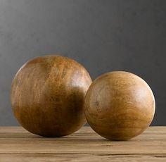 Wood spheres at Restoration Hardware