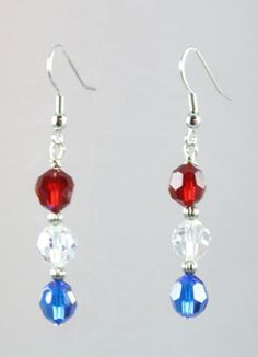 Red / White / Blue Earrings by LandLJewelryDesigns on Etsy, $10.00