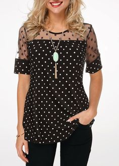 Stylish Tops For Girls, Trendy Tops, Trendy Fashion Tops, Trendy Tops For Women Page 6 Polka Dot Shorts, Polka Dot Blouse, Polka Dots, Mode Outfits, Fashion Outfits, Womens Fashion, Fashion Trends, Trending Fashion, Fashion Clothes