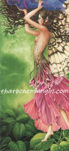 """""""Purple Passion Fairy"""" by Judy King Greeting Card measures 3-1/2 x 8-1/2"""" Blank inside and pretty enough to frame."""