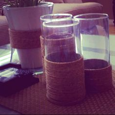 Twine wrapped vases :)  Super easy!