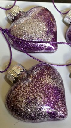 Glitter ornaments Purple and silver heart shaped by MadeByMicky