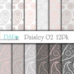 12 Pack Paisley 02 Pink Mocha Grey Zip Files 12 x 12 300DPI Craft Supply Scrapbooks Background Paper Crafts Card Design Packaging DigitalArtUtopia 1.99 USD