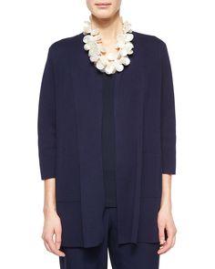 3/4-Sleeve Silk-Cotton Interlock Cardigan, Midnight (Black), Women's, Size: L (14/16) - Eileen Fisher