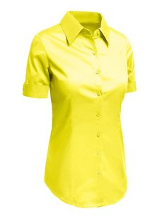 LE3NO Womens Tailored Short Sleeve Button Down Shirt with Stretch at Amazon Women's Clothing store: