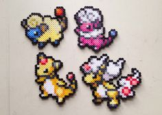 Mareep | Flaaffy | Ampharos | Mega Ampharos | Pokemon | Perler Bead | 8bit | Nintendo | Sprite |