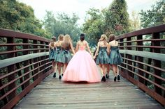 Cute Quinceañera photo idea, with the backside of the Damas and you facing the camera walking . ツ \\ Photo Credit Laceymarie Photography