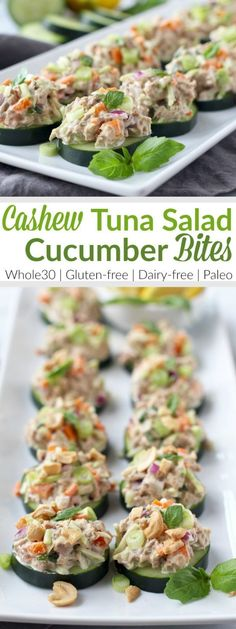 Tasty Cashew Tuna Salad Cucumber Bites make for the perfect Whole30-friendly lunch (or snack) and are made in just 10 minutes! | The Real Food Dietitians | http://therealfoodrds.com/cashew-tuna-salad-cucumber-bites/