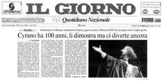 9 dicembre 1999 - Il Giorno - Ugo Ronfani su Cirano di Bergerac di Rostand, regia di Peppino Patroni Griffi con Sebastiano Lo Monaco, Marina Biondi