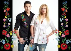 Folk Fashion - kézműves által hímzett kalocsai népi motívumos férfi és női divatos ruhák. | Kezdőlap Cross Stitch Embroidery, Embroidery Patterns, Hand Embroidery, Folk Fashion, Womens Fashion, Hungarian Embroidery, Folk Costume, Nicole Kidman, Hungary