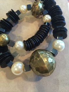 Ebony and Mock Pearl long) Beaded Bracelets, Necklaces, African Beads, Art Decor, Pearl Necklace, Jewelry Design, Pearls, Vintage, String Of Pearls