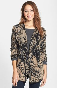 Free shipping and returns on NIC+ZOE 'Eclipse' Sweater Jacket (Regular & Petite) at Nordstrom.com. Faux-leather piping traces the open, draped front of a sweater jacket in a cozy bouclé knit flaunting a striking abstract print.