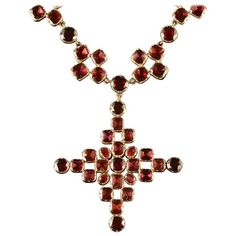 Antique Georgian Flat Cut Garnet Gold Collar and Cross, circa 1770 For Sale Garnet Jewelry, Red Jewelry, Cross Jewelry, Wedding Jewelry, Antique Jewelry, Jewellery, Cross Necklaces, Jewelry Necklaces, Gold Collar