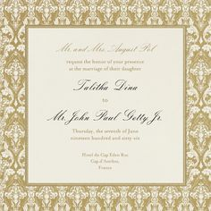 """Damask - Cream with Gold (Border)"" Invitation, Paperless Post"