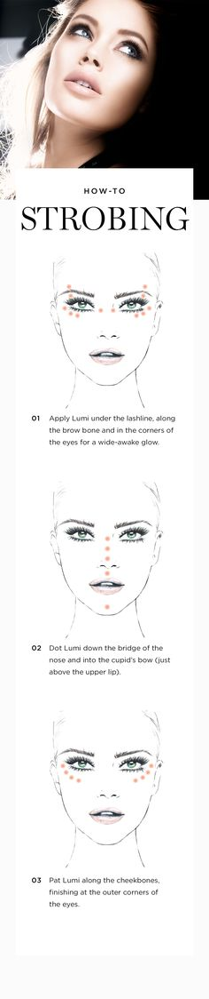 """Strobing"" is the new contouring. To illuminate features for a glowy look, dot True Match Lumi Highlighter along cheekbones, down the bridge of the nose, below the brow bone and in the corners of the eyes. Blend with your fingers or dab with a sponge."
