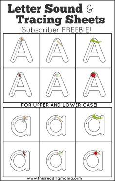 FREE Letter Sound Letter Tracing Sheets ~ Practice early handwriting AND letter sounds at the same time! Preschool Writing, Preschool Letters, Learning Letters, Preschool Learning, Kindergarten Literacy, Preschool Activities, Preschool Printables, Teaching Handwriting, Handwriting Worksheets