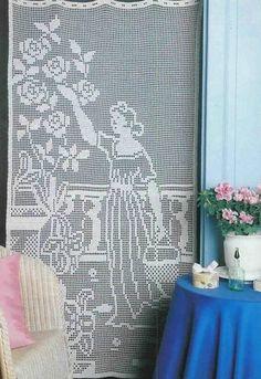 "Photo from album """"Decorative crochet"" on Yandex. Crochet Curtain Pattern, Graph Crochet, Crochet Curtains, Curtain Patterns, Doily Patterns, Filet Crochet, Crochet Patterns, Crochet Home, Diy Crochet"