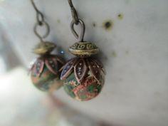 Jasper Earrings Boho Earrings  Green Earrings by MillyLillyDesigns