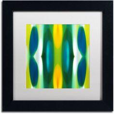 Trademark Fine Art Forest Pattern 11 Blue Canvas Art by Amy Vangsgard White Matte, Black Frame, Size: 16 x 16