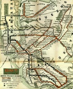 """thefuturemappingco: """" HISTORIC NEW YORK SUBWAY MAPS """" """" The New York City subway system has undergone many changes in its almost history. Nyc Subway Map, New York Subway, Vintage New York, Vintage Maps, Subway Series, Rapid Transit, Old Maps, Cartography, New York City"""
