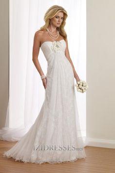 Sheath/Column Sweetheart Strapless Lace Wedding Dress - IZIDRESS.com