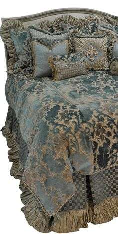 The Paradise Collection by Reilly-Chance Collection combines a Soft Blue Chenille with Taupe Silk for a look that is Calming. The Box-pleated Dust skirt is accented with a silk ruffle and decorative trim.