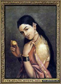 Lady Holding a Fruit Painting by Raja Ravi Varma Reproduction Ravivarma Paintings, Indian Art Paintings, Amazing Paintings, Shiva Art, Hindu Art, Raja Ravi Varma, Indian Women Painting, Google Art Project, Fruit Painting